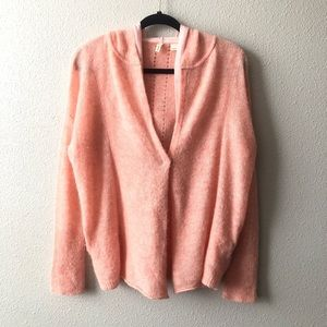 Anthropology Moth Pink Alpaca Cardigan W/Hood